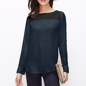 Ann Taylor Faux Leather and Chiffon Top